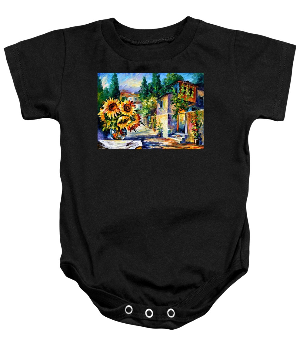 Afremov Baby Onesie featuring the painting Greek Noon by Leonid Afremov