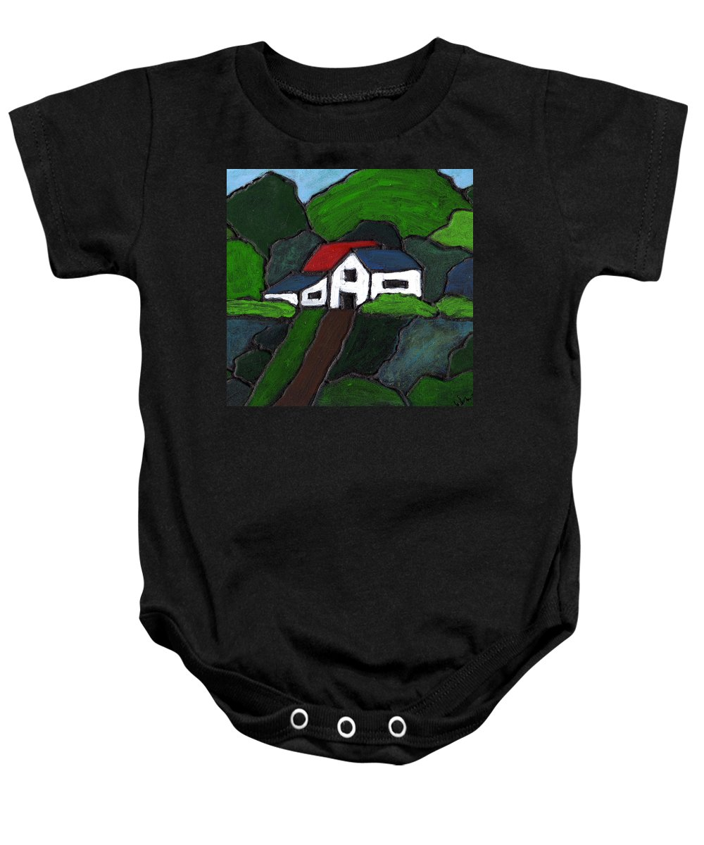 Rural Baby Onesie featuring the painting Green Acres by Wayne Potrafka