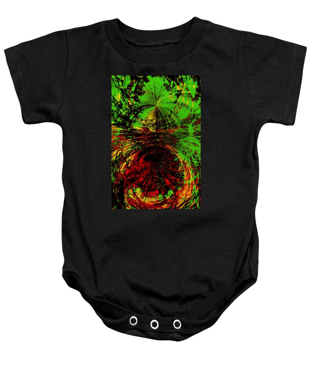 Abstract Baby Onesie featuring the digital art Green And Red by Galeria Trompiz