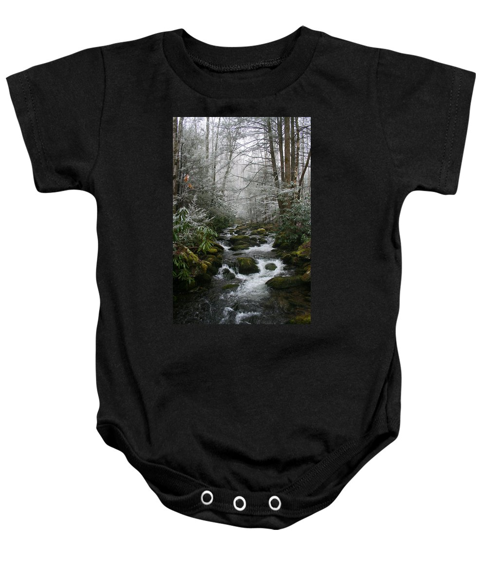 Green Snow Tree Trees Winter Stream River Creek Water Stone Rock Flow Boulder Forest Woods Cold Baby Onesie featuring the photograph Green And White by Andrei Shliakhau