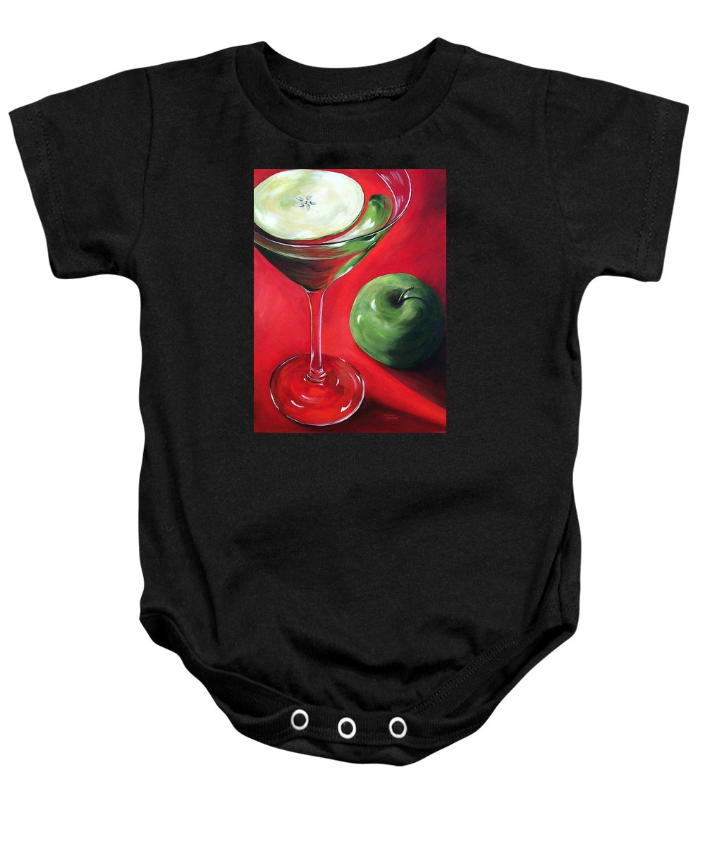 Martini Baby Onesie featuring the painting Green Apple Martini by Torrie Smiley