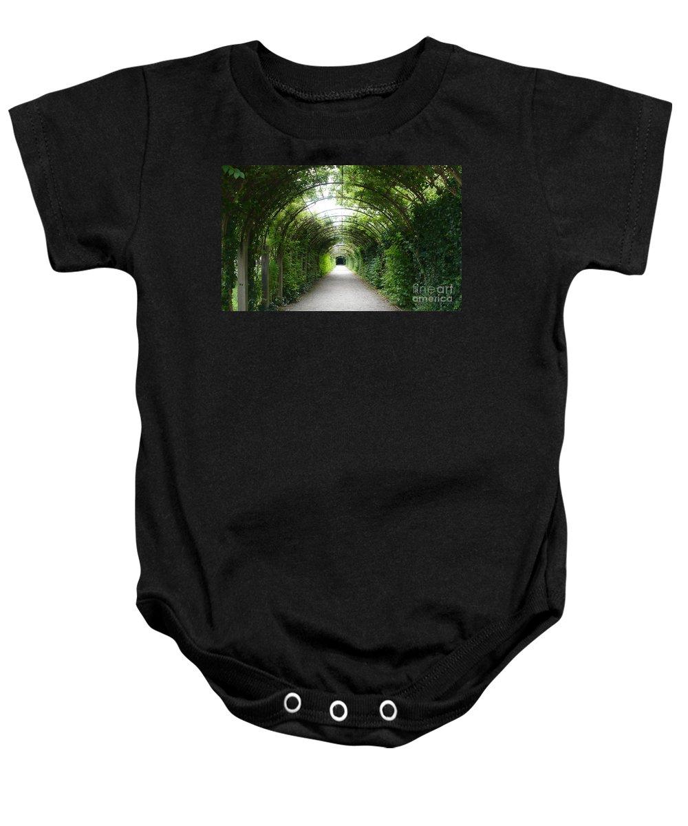Arbor Baby Onesie featuring the photograph Green Arbor Of Mirabell Garden by Carol Groenen