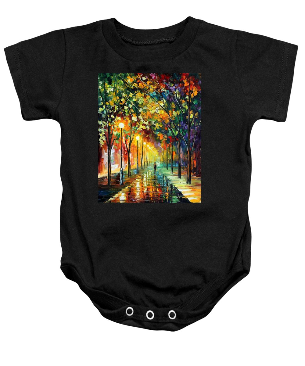 Afremov Baby Onesie featuring the painting Green Dreams by Leonid Afremov