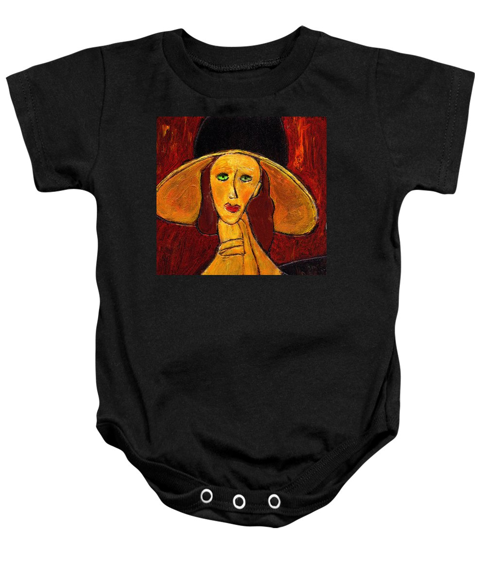 Hat Baby Onesie featuring the painting Green Eyes by Wayne Potrafka