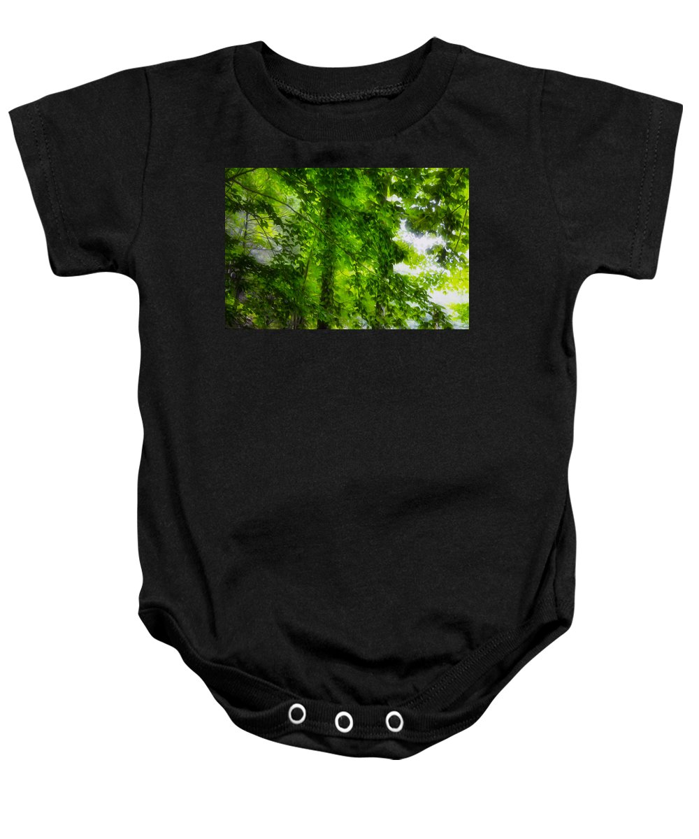 Green Forest Trees Baby Onesie featuring the painting Green Forest Trees 1 by Jeelan Clark