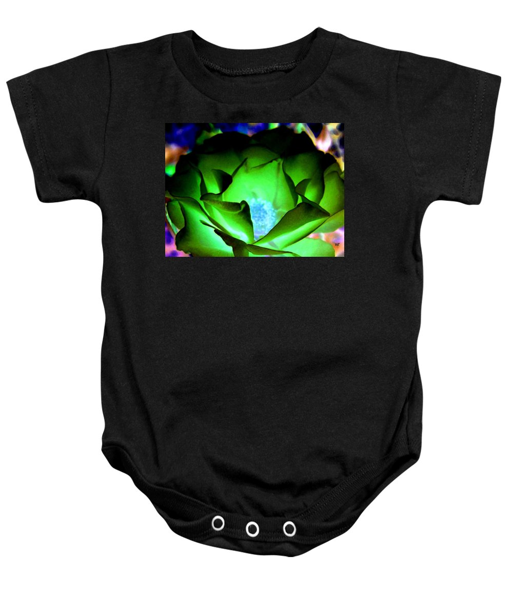 Rose Baby Onesie featuring the digital art Green Glow by Will Borden
