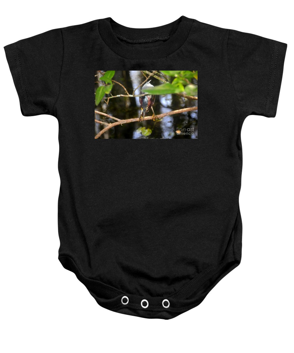 Green Heron Baby Onesie featuring the photograph Green Heron Hunting by David Lee Thompson