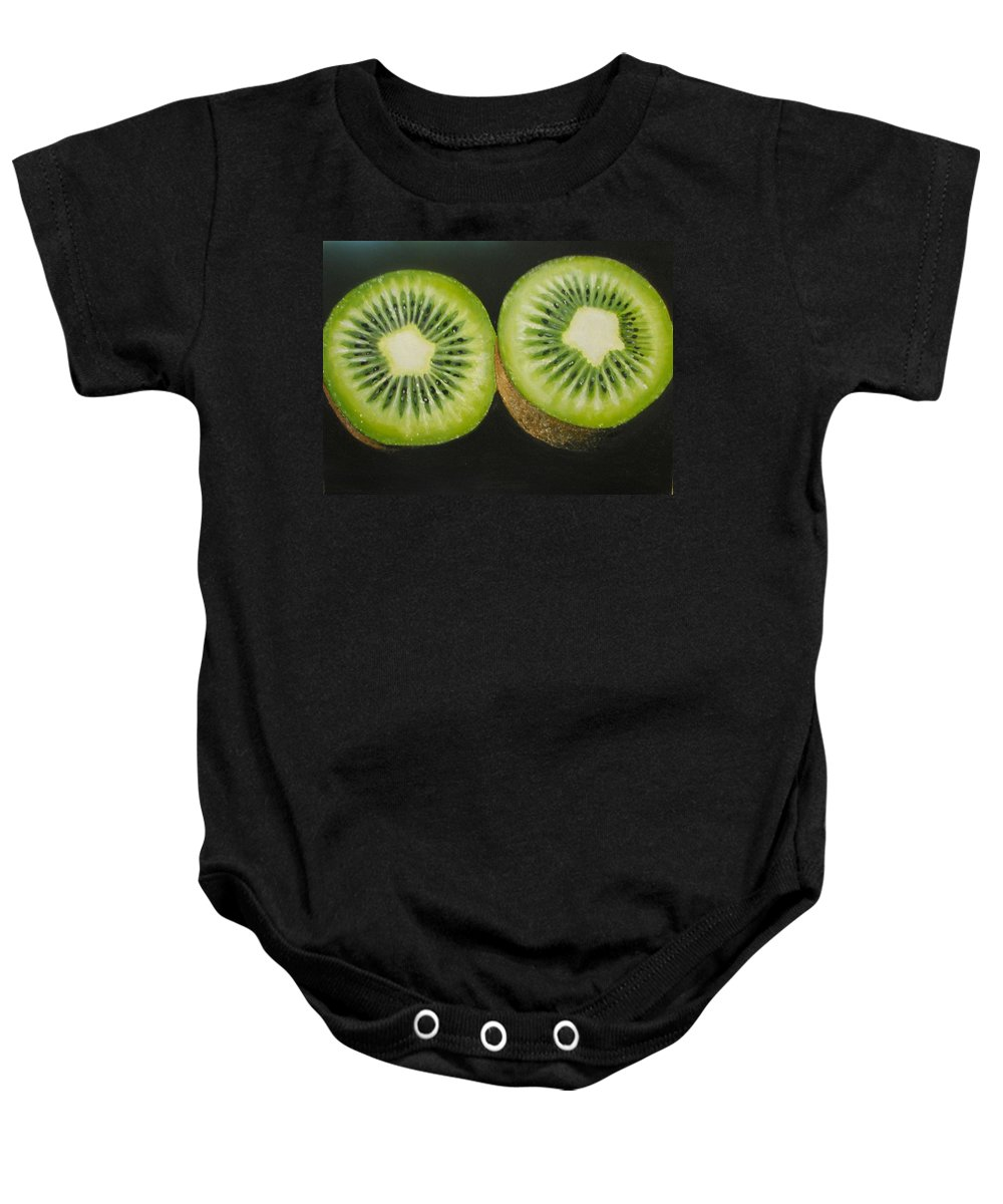 Kiwi Baby Onesie featuring the painting Green Kiwi Oil Painting by Natalja Picugina