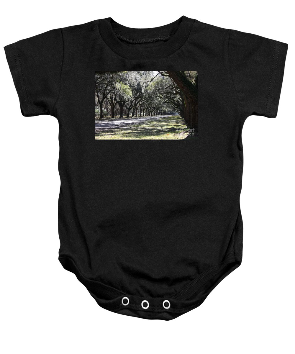 Live Oaks Baby Onesie featuring the photograph Green Lane With Live Oaks by Carol Groenen