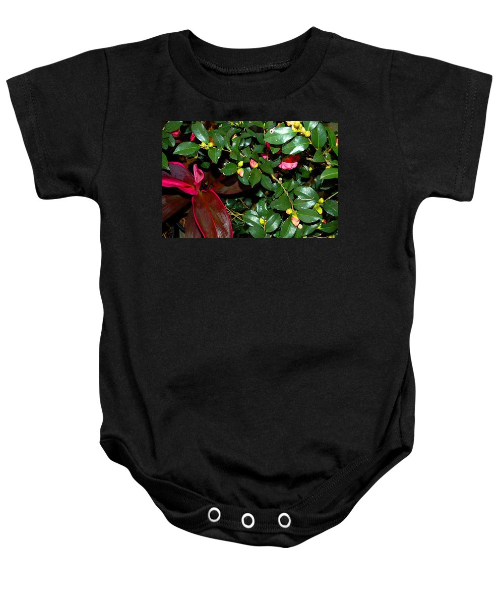 Flowers Baby Onesie featuring the digital art Green Leafs And Pink Flower by Michael Thomas