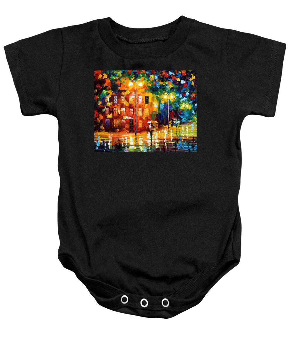 Afremov Baby Onesie featuring the painting Green Mood by Leonid Afremov