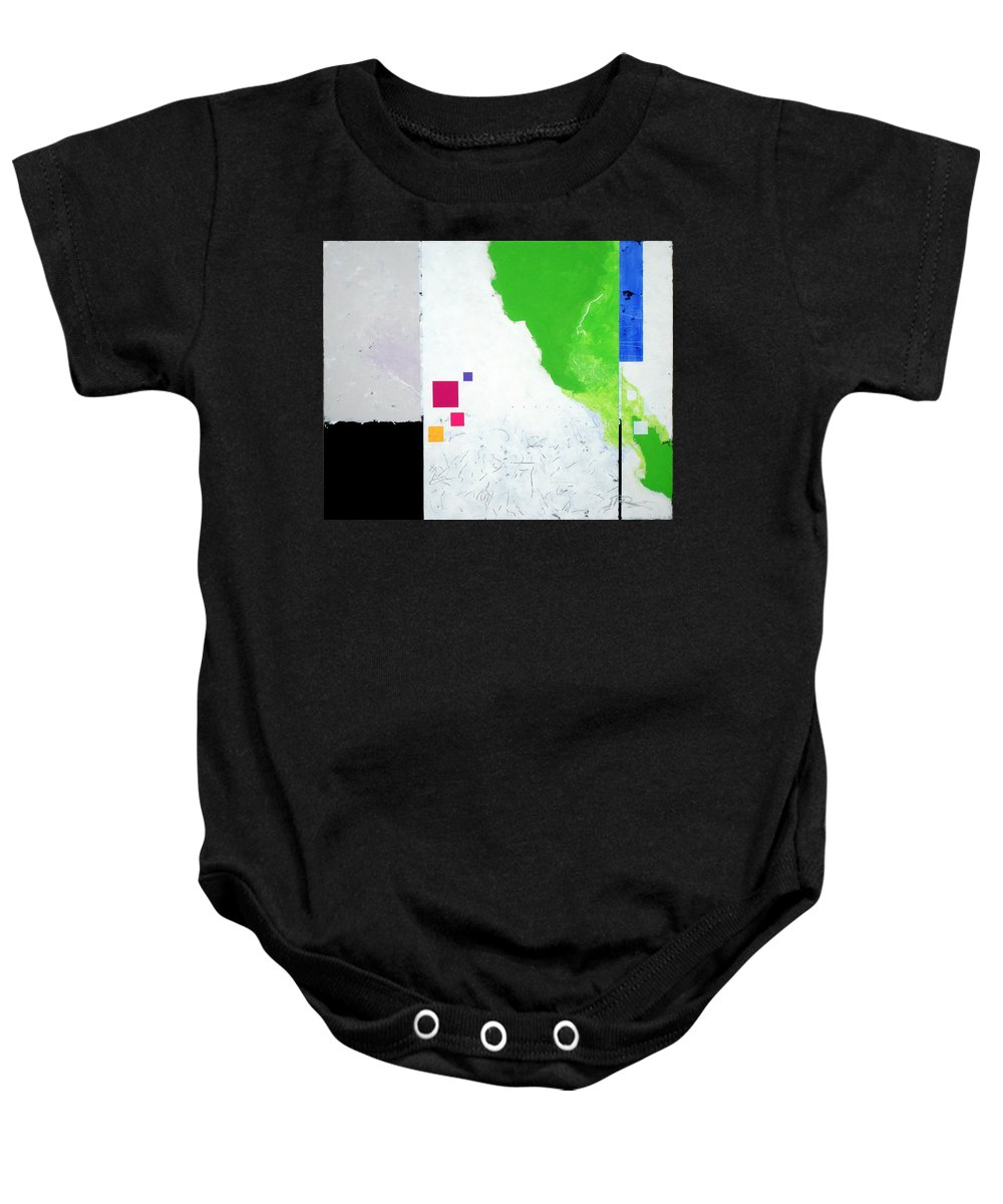 Abstract Baby Onesie featuring the painting Green Movement by Jean Pierre Rousselet