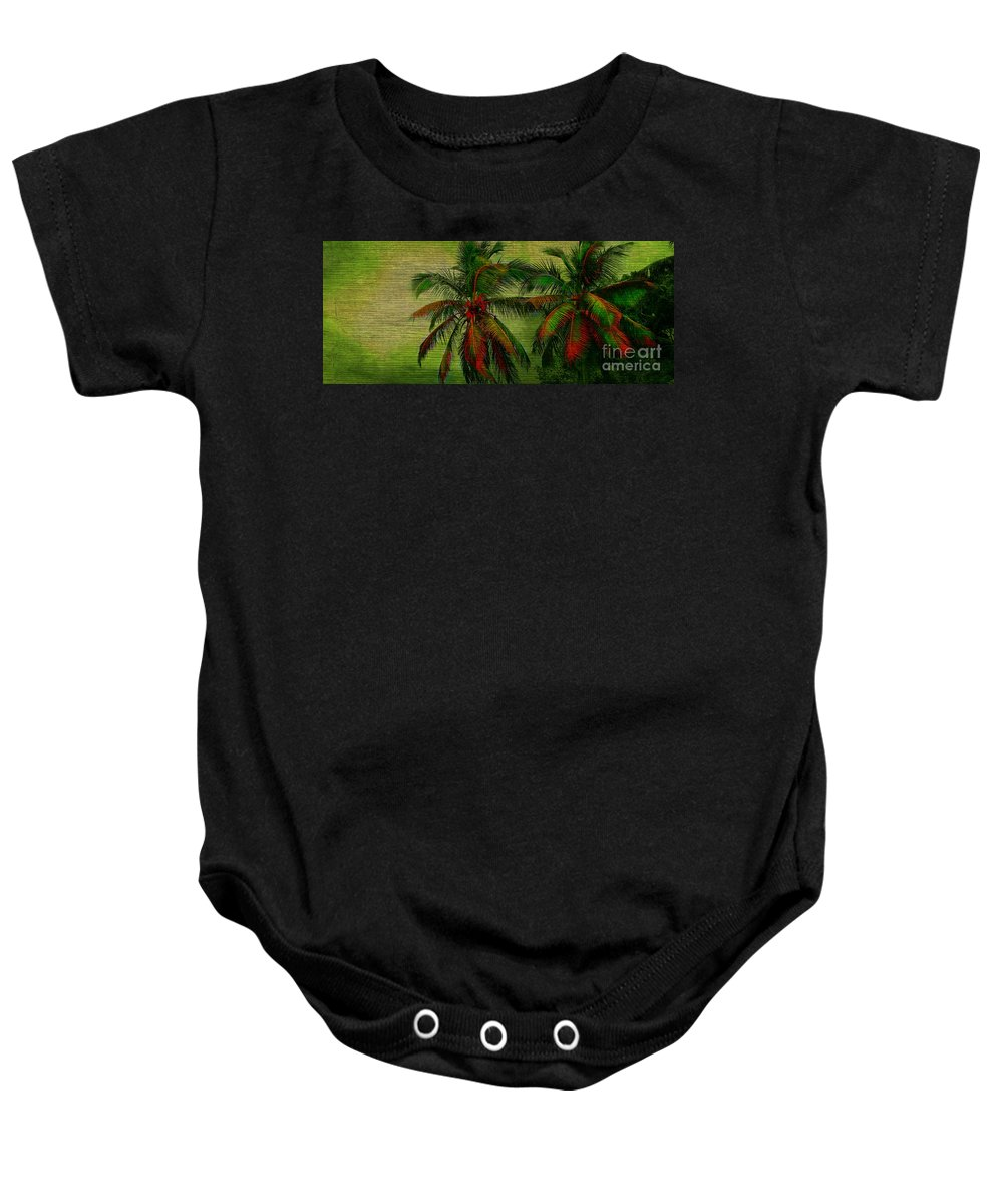Palm Baby Onesie featuring the photograph Green Palms by Perry Webster