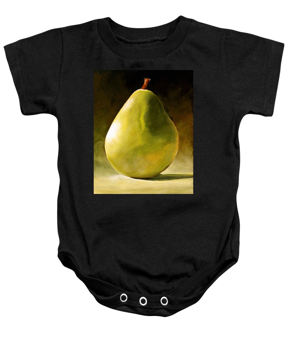 Green Baby Onesie featuring the painting Green Pear by Toni Grote