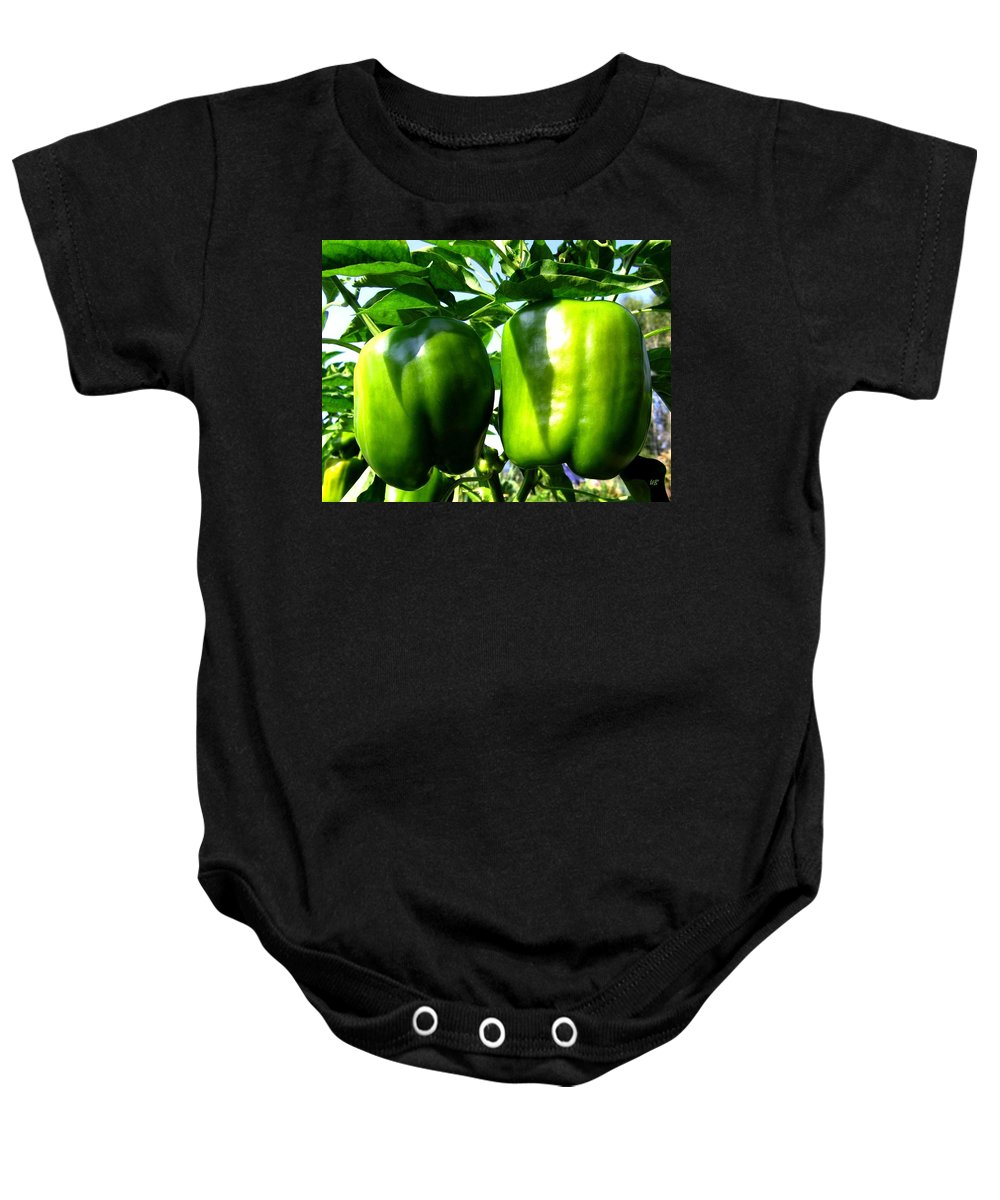 Green Peppers Baby Onesie featuring the photograph Green Peppers by Will Borden