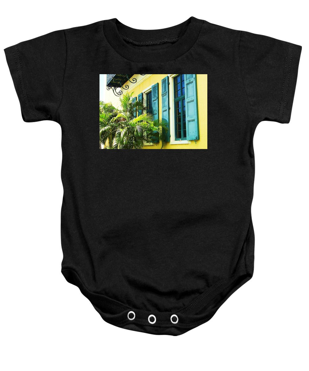 Architecture Baby Onesie featuring the photograph Green Shutters by Debbi Granruth