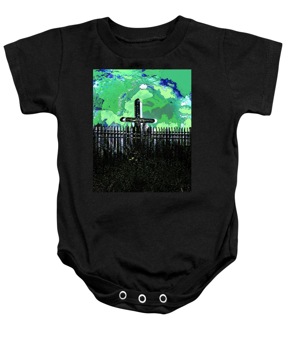 Photo Baby Onesie featuring the photograph Green Sky Cross by John Vincent Palozzi