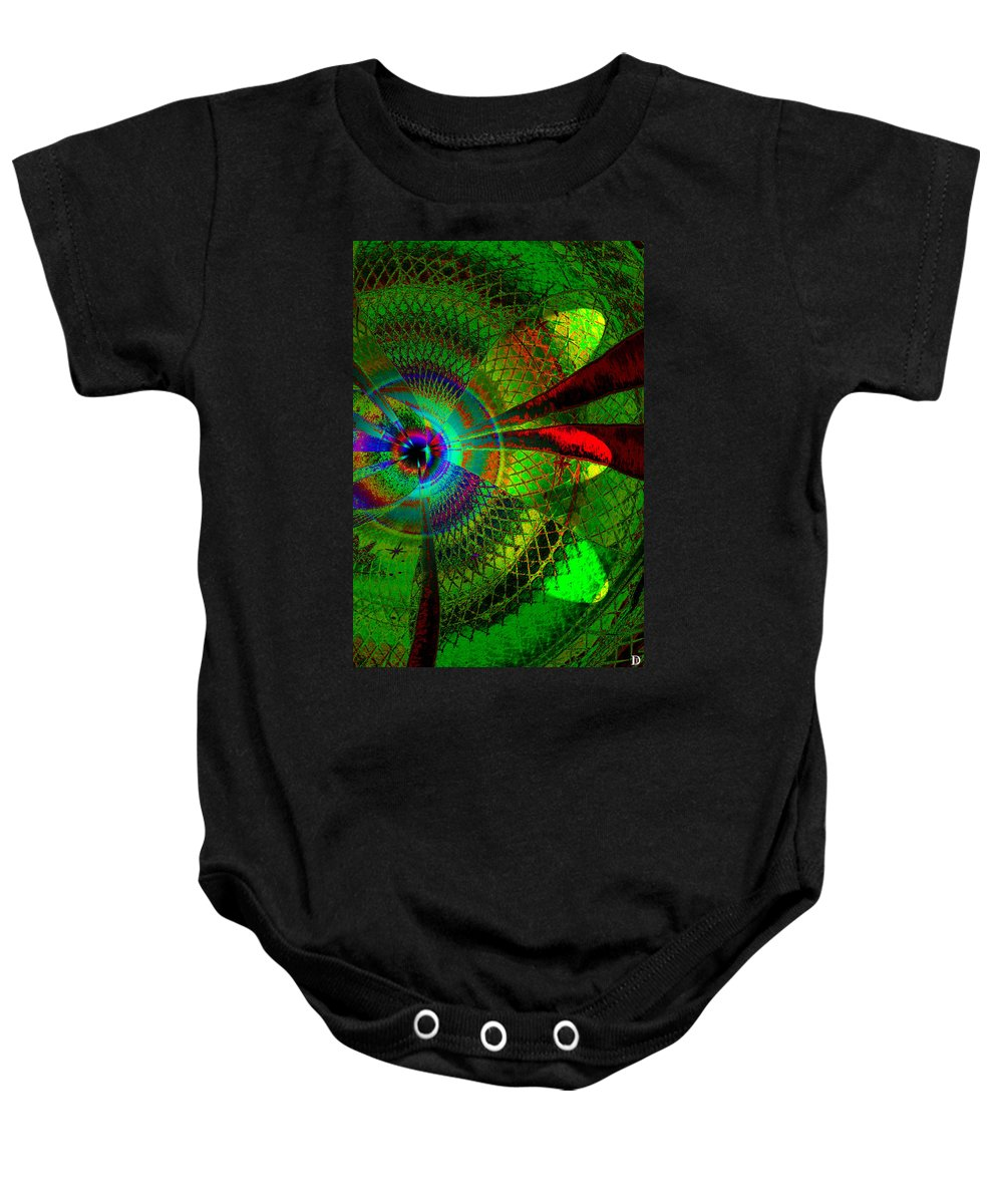 Green Worlds Baby Onesie featuring the painting Green Worlds by David Lee Thompson