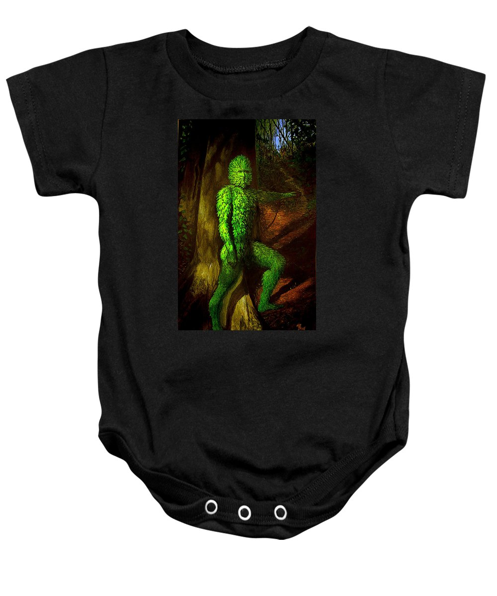 Myth Baby Onesie featuring the mixed media Greenman by Will Brown