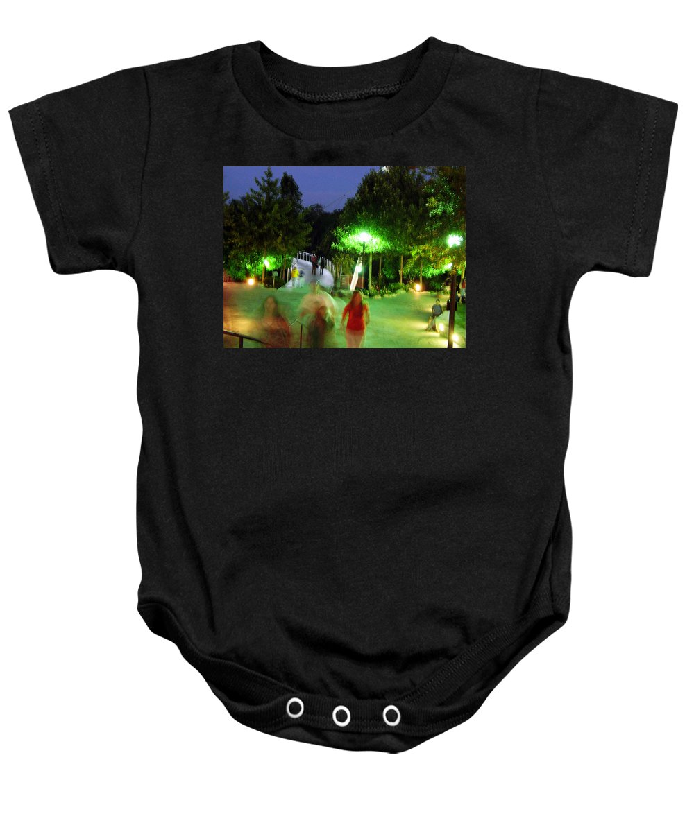 Falls Park Baby Onesie featuring the photograph Greenville At Night by Flavia Westerwelle