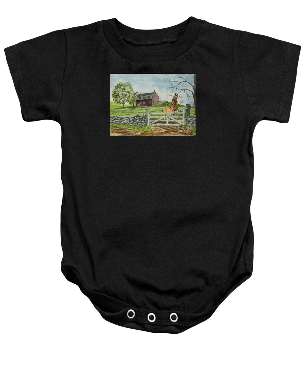 Horses Baby Onesie featuring the painting Greeting At The Gate by Charlotte Blanchard