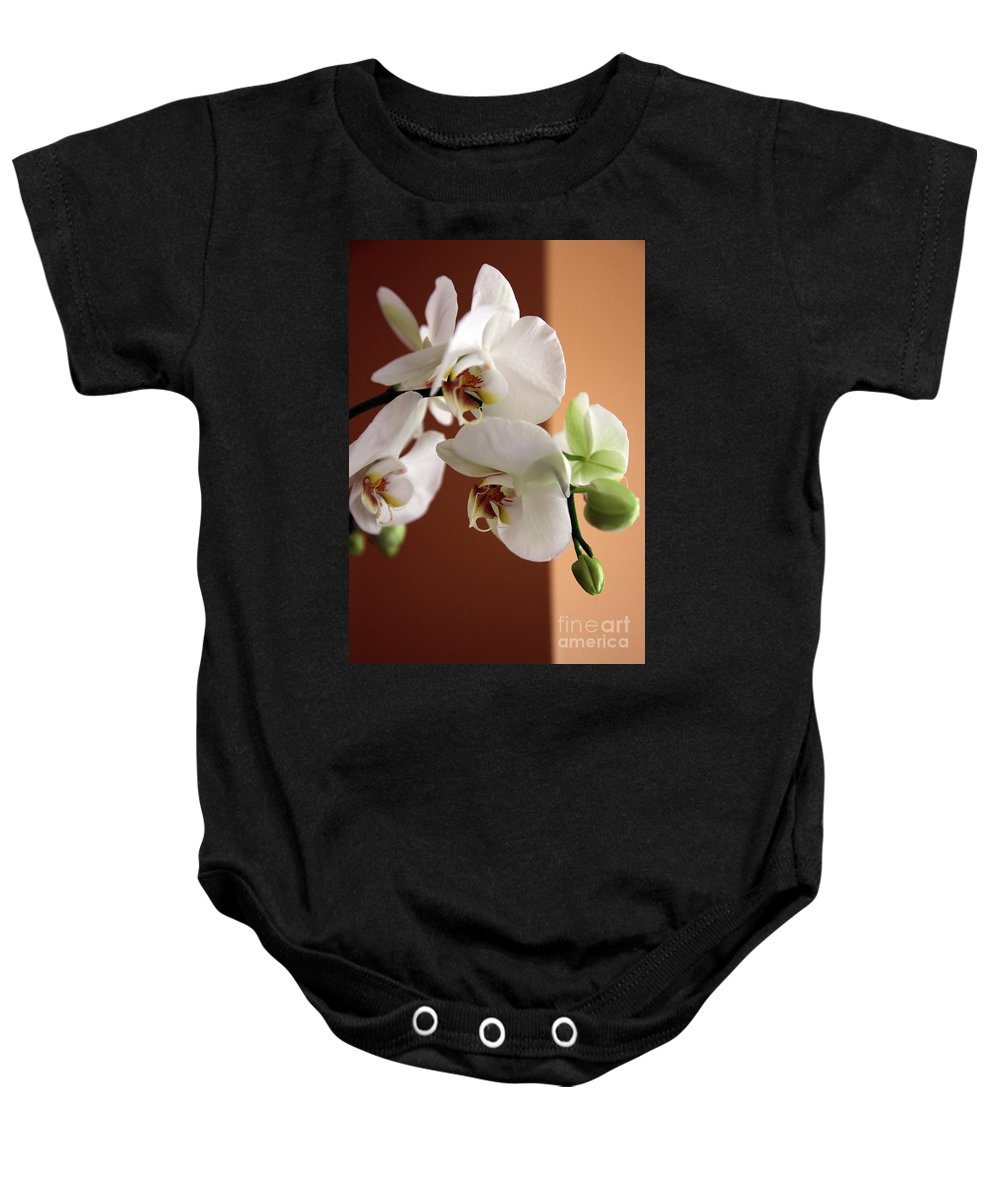 Orchid Baby Onesie featuring the photograph Greeting The Day by Amanda Barcon