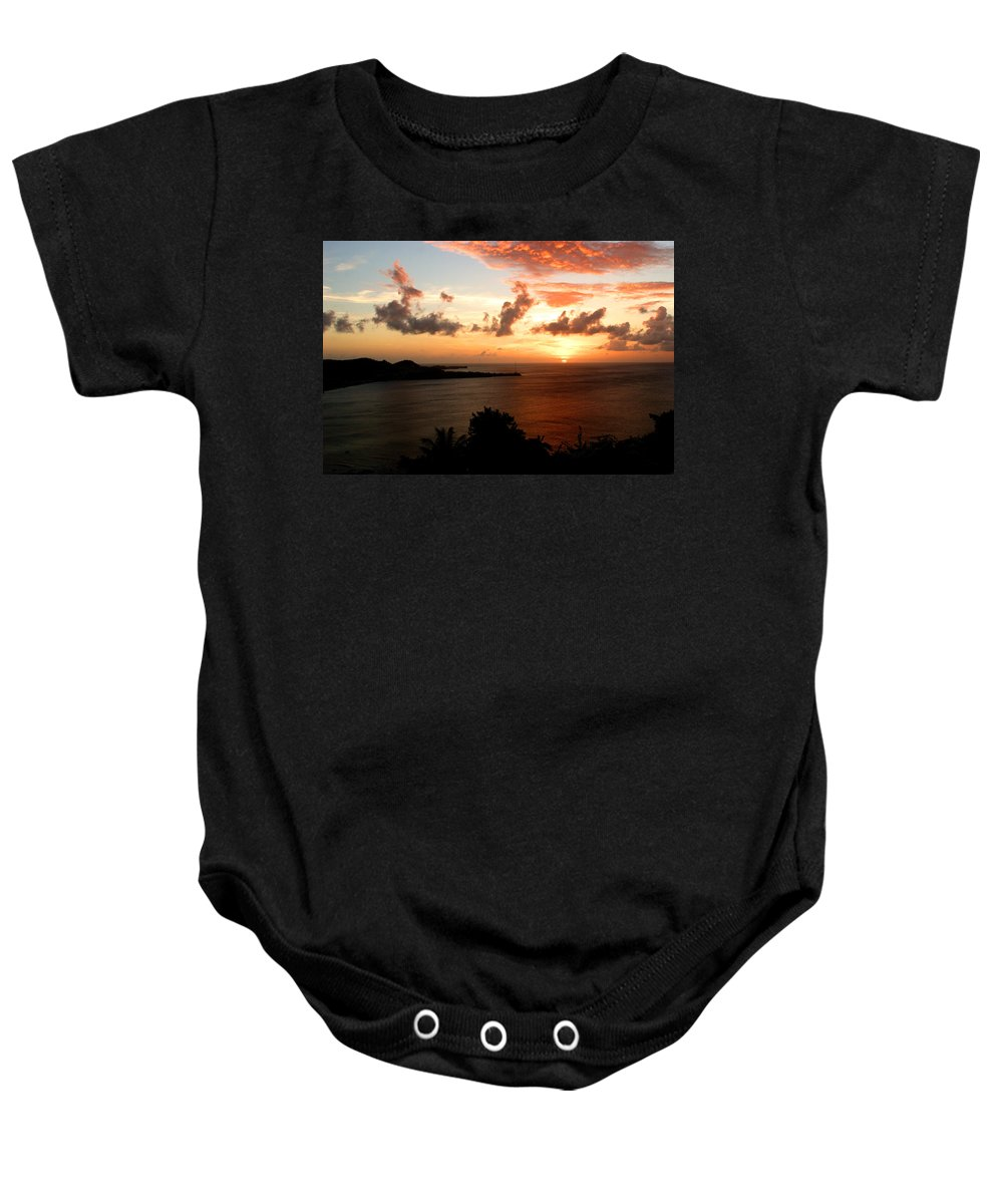 Sunset Baby Onesie featuring the photograph Grenadian Sunset II by Jean Macaluso