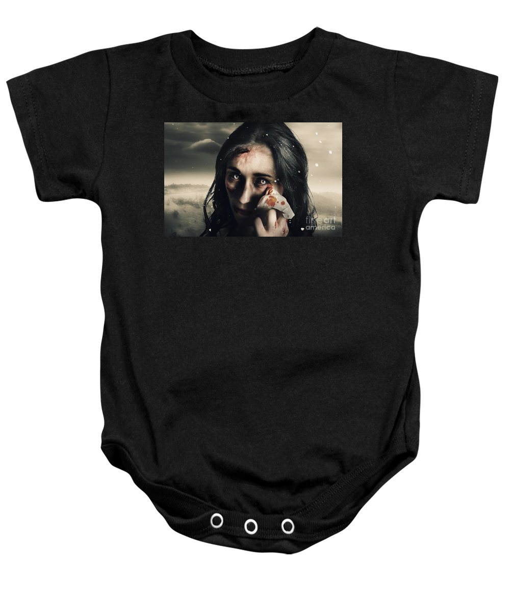 Anguish Baby Onesie featuring the photograph Grim Face Of Horror Crying Tears Of Blood by Jorgo Photography - Wall Art Gallery
