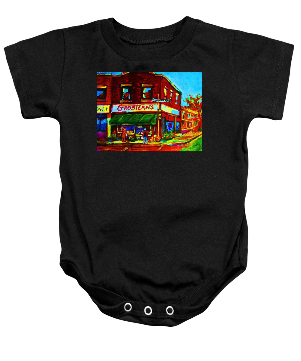 Grosterns Baby Onesie featuring the painting Grosterns Market by Carole Spandau