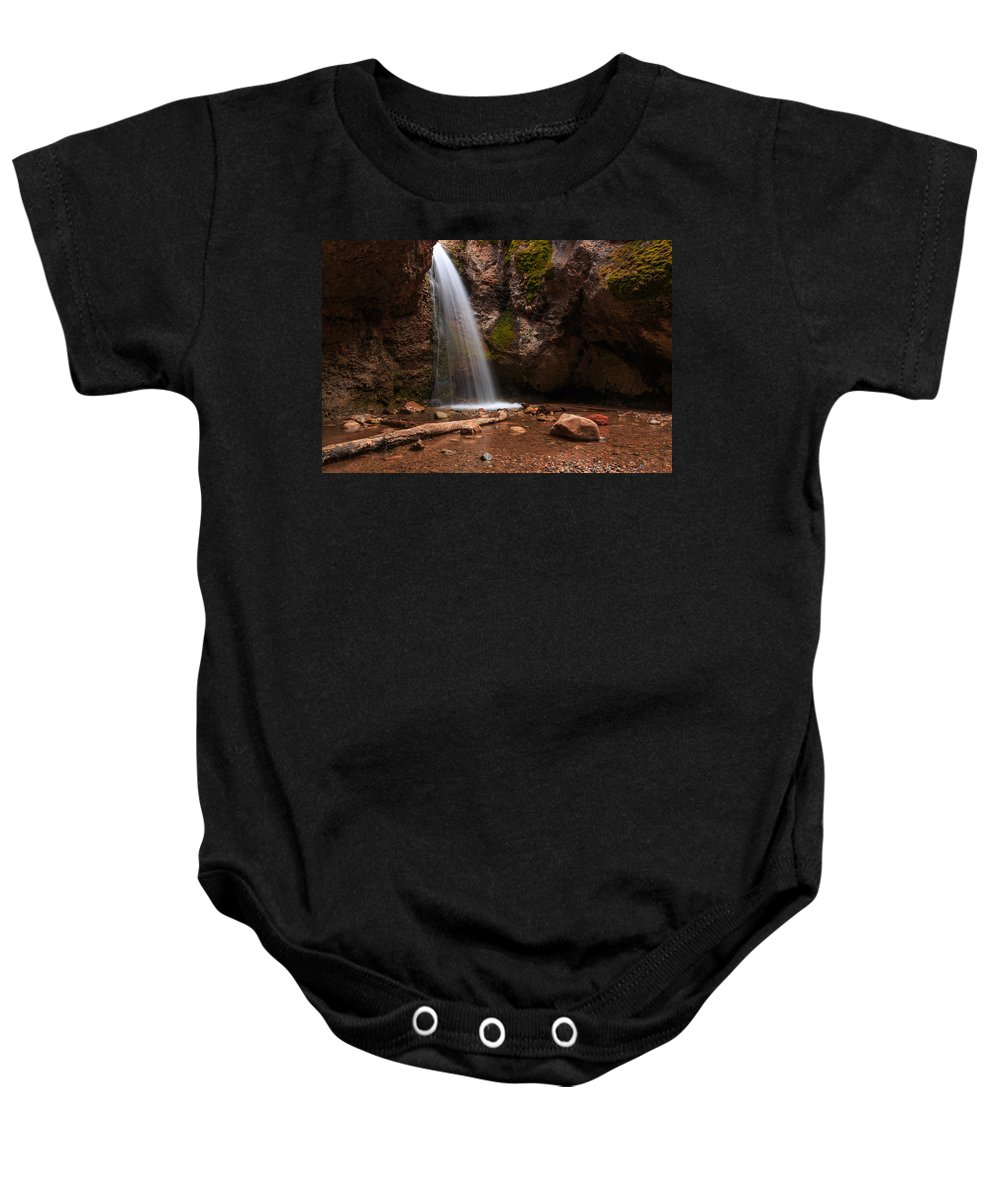 Trailsxposed Baby Onesie featuring the photograph Grotto Falls by Gina Herbert