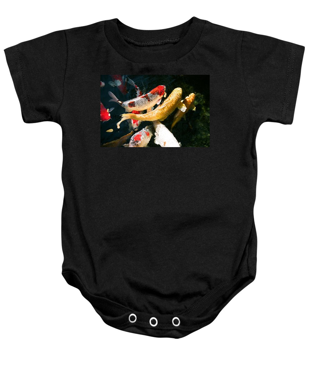 Fish Baby Onesie featuring the photograph Group Of Koi Fish by Dean Triolo