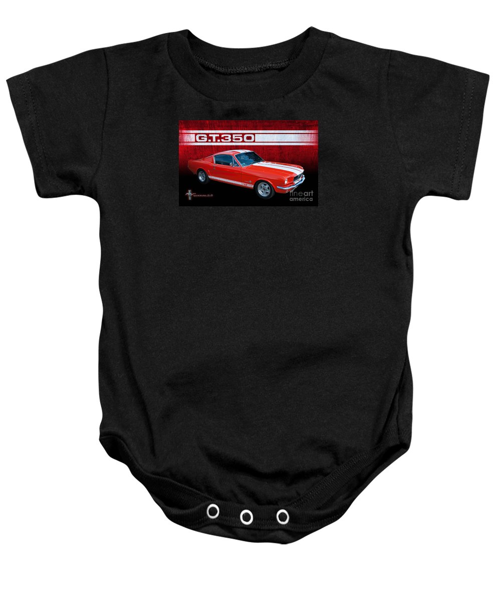Transportation Baby Onesie featuring the photograph Red Gt 350 Mustang by Stuart Row