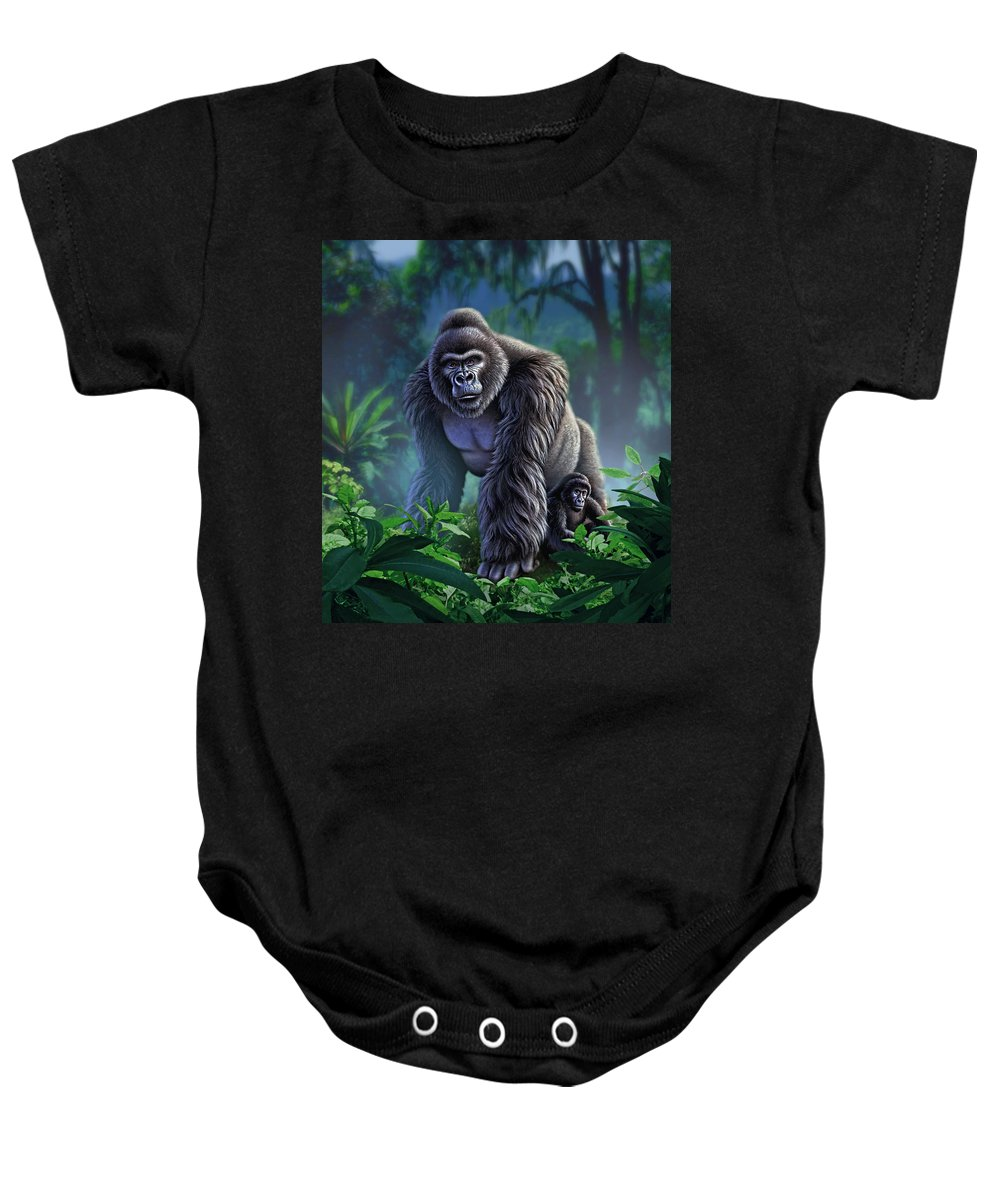 Gorilla Baby Onesie featuring the painting Guardian by Jerry LoFaro