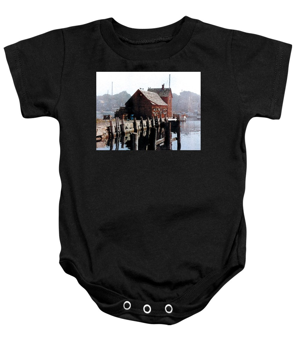 Boat House Baby Onesie featuring the painting Guardian Of The Harbor by Paul Sachtleben