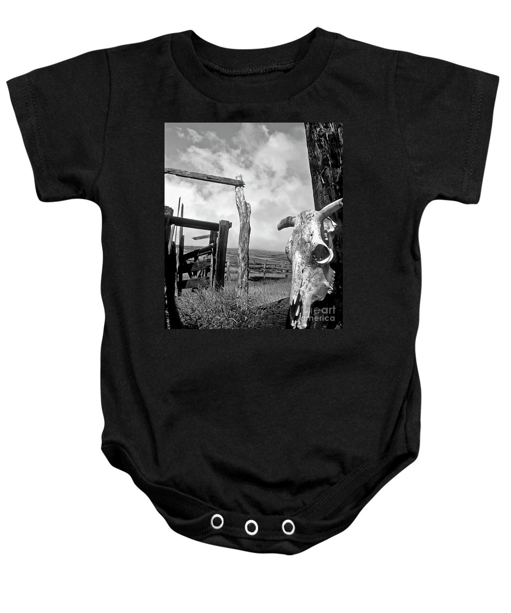 Black And White Baby Onesie featuring the photograph Guardian Spirit by Jim Cazel