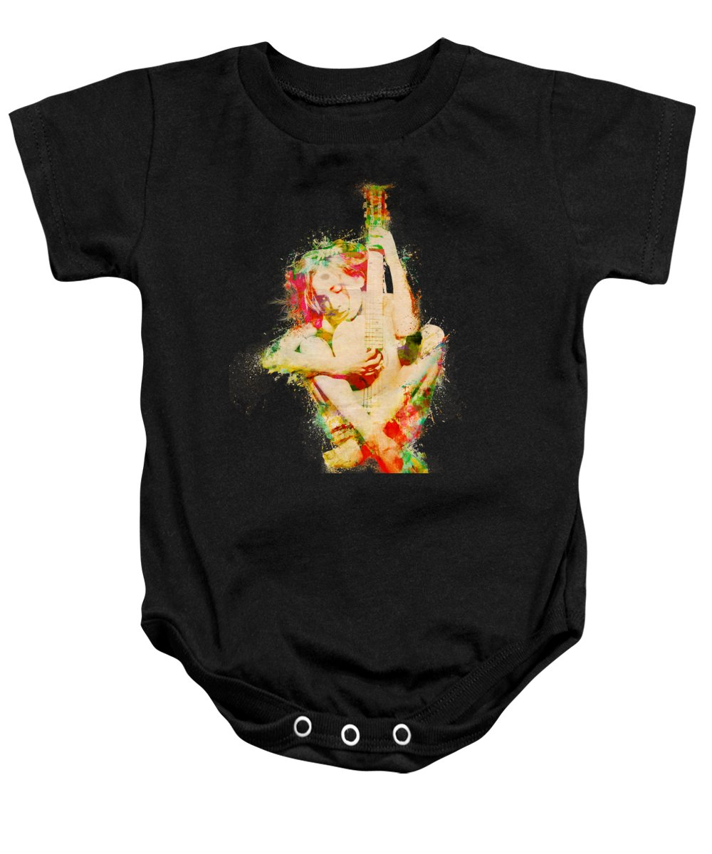 Guitar Baby Onesie featuring the digital art Guitar Lovers Embrace by Nikki Smith