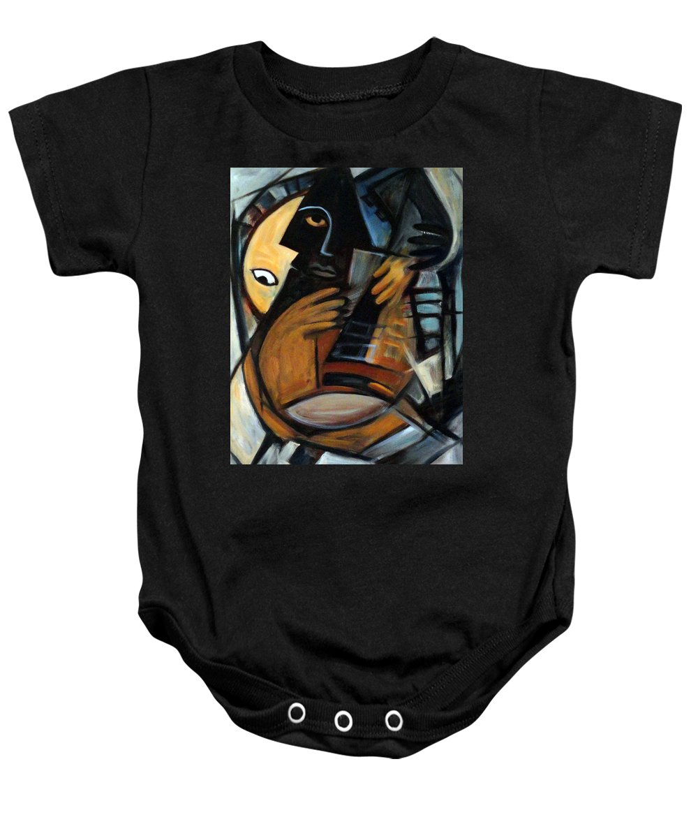 Cubism Baby Onesie featuring the painting Guitarist by Valerie Vescovi