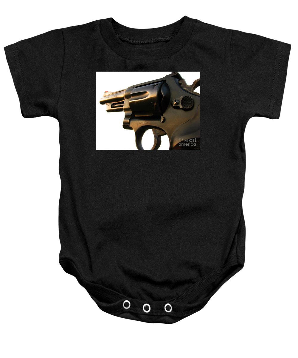 Gun Baby Onesie featuring the photograph Gun Series by Amanda Barcon