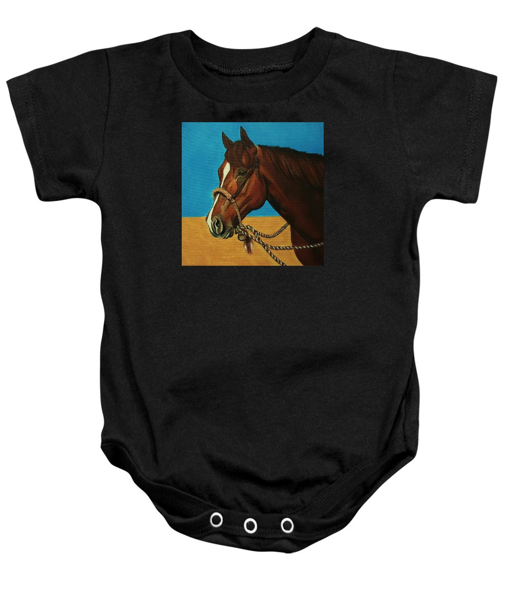 Horse Baby Onesie featuring the painting Hackamore Horse by Lucy Deane