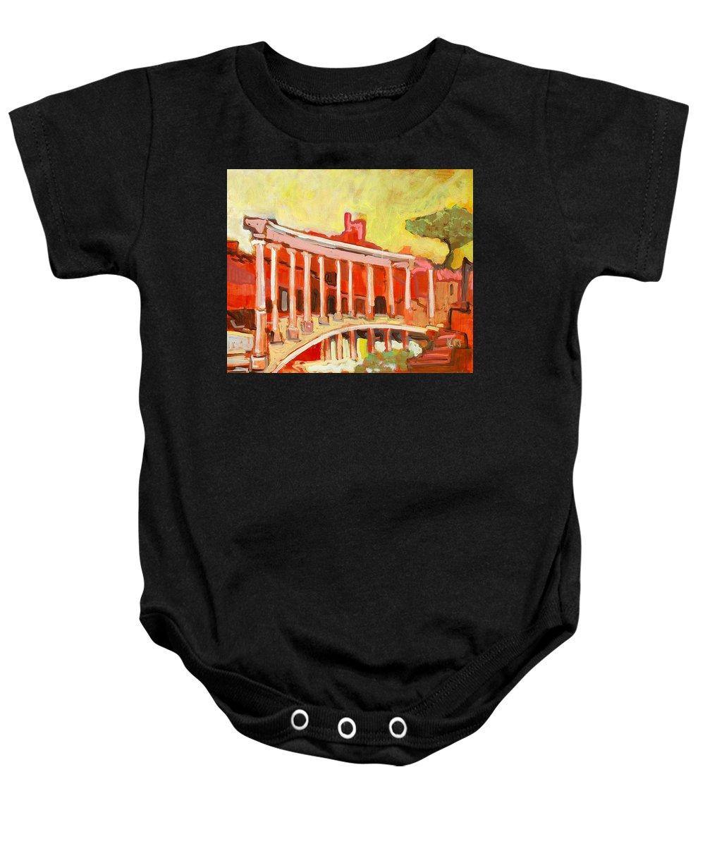 Villa Baby Onesie featuring the painting Hadrian's Villa by Kurt Hausmann