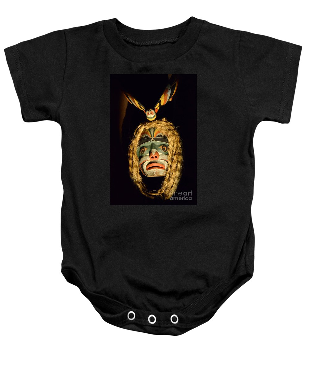 Carved Mask Baby Onesie featuring the photograph Haida Carved Wooden Mask 4 by Bob Christopher