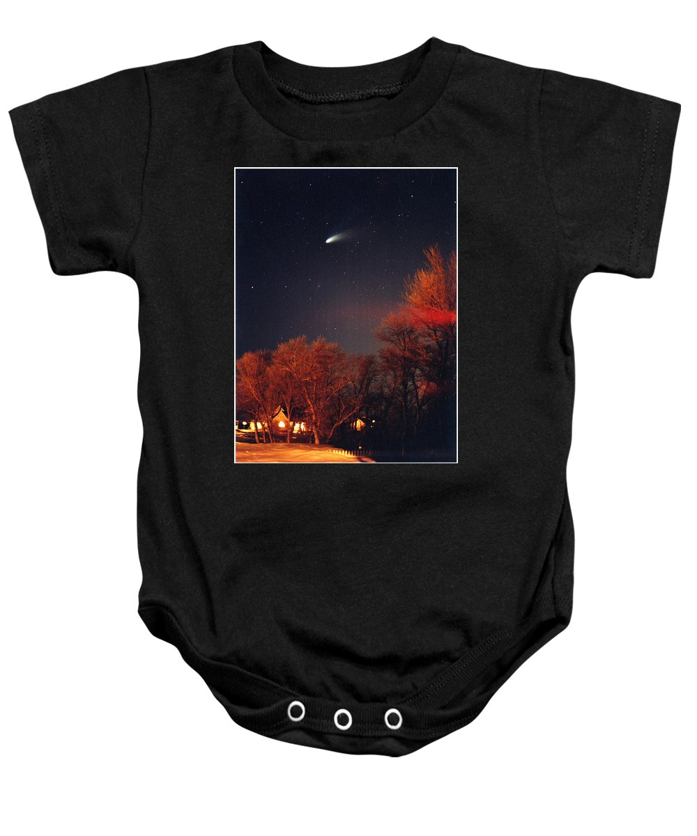 Comet Baby Onesie featuring the photograph Hale-bopp Comet by Nancy Mueller
