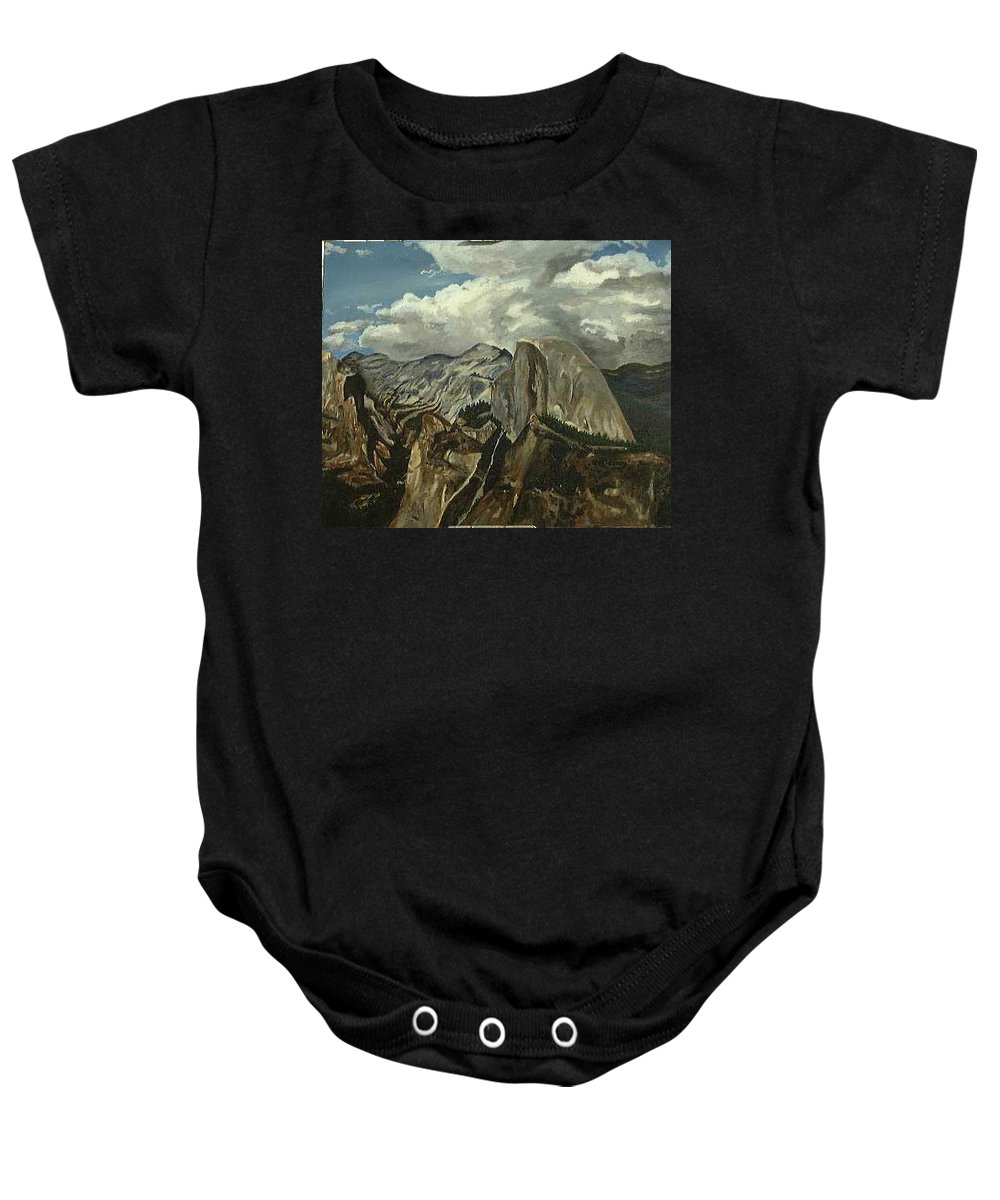 Baby Onesie featuring the painting Half Dome by Travis Day