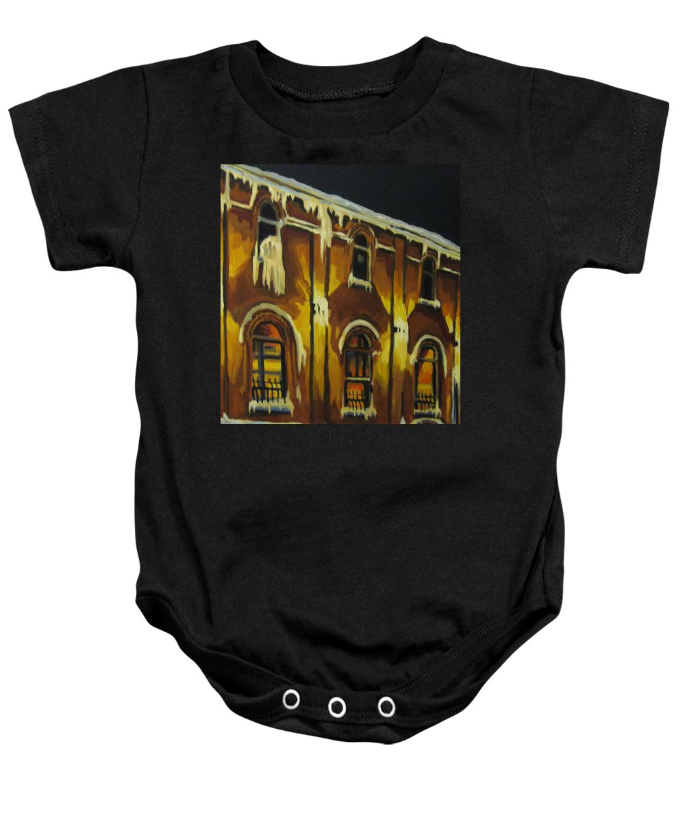 Urban Landscapes Baby Onesie featuring the painting Halifax Ale House In Ice by John Malone