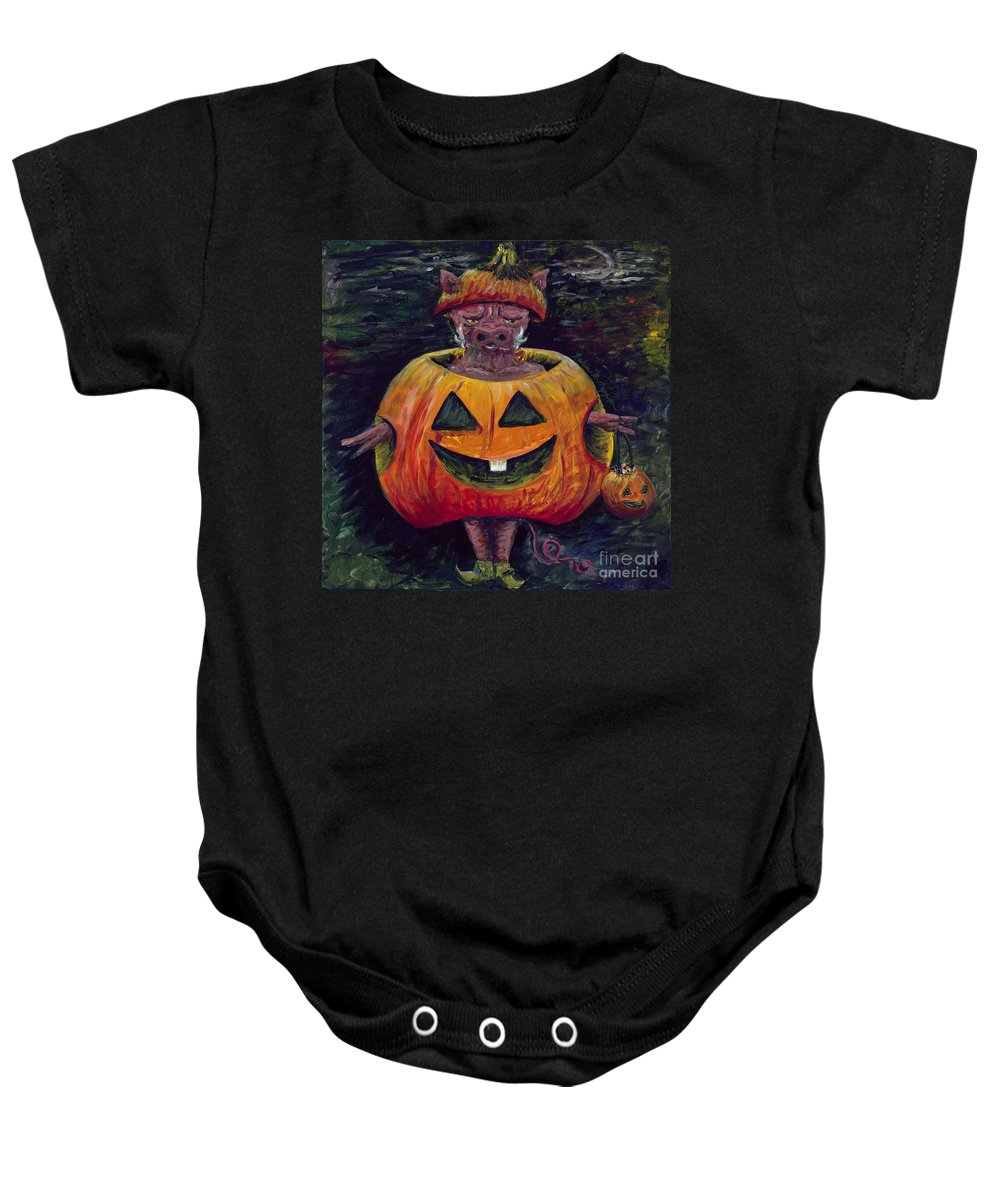 Halloween Baby Onesie featuring the painting Halloween Hog by Nadine Rippelmeyer