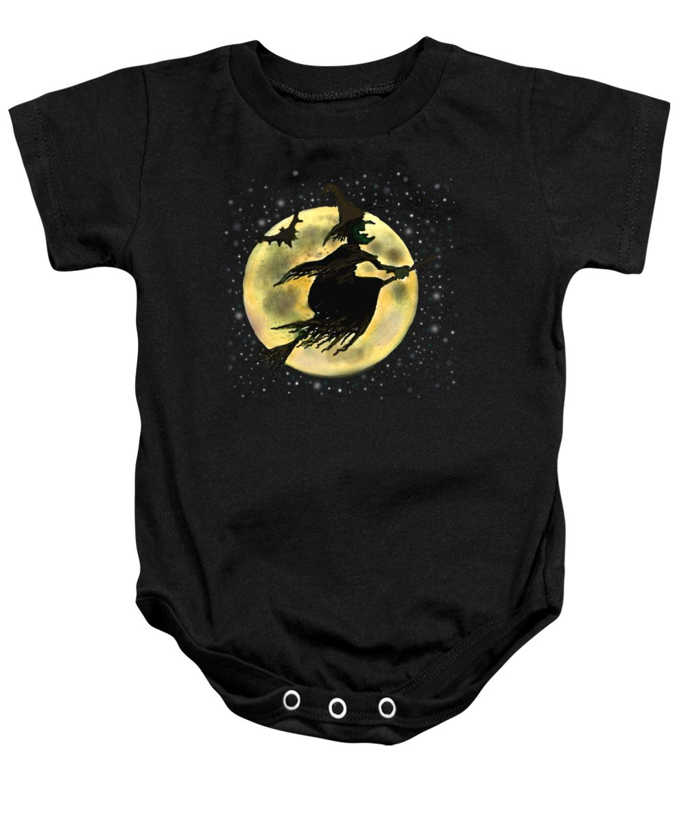 Halloween Baby Onesie featuring the digital art Halloween Witch by Kevin Middleton