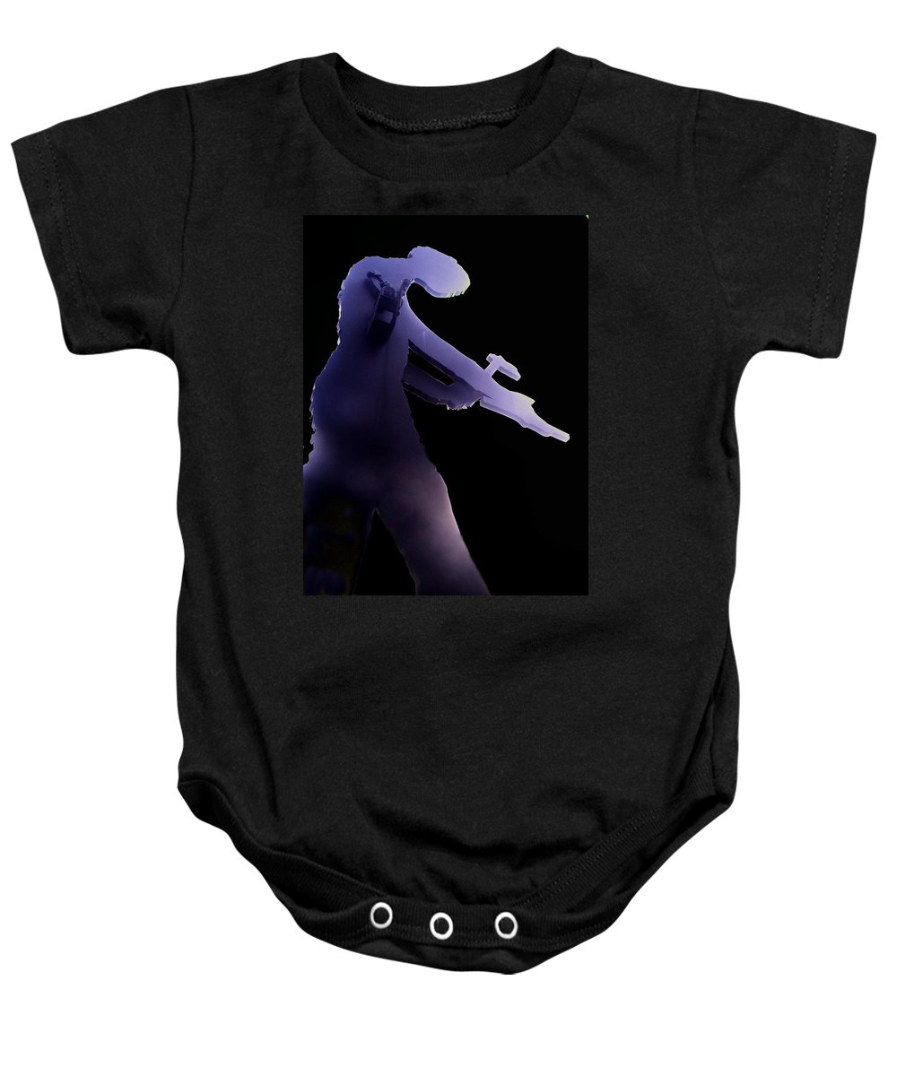 Seattle Baby Onesie featuring the digital art Hammering Man 2 by Tim Allen