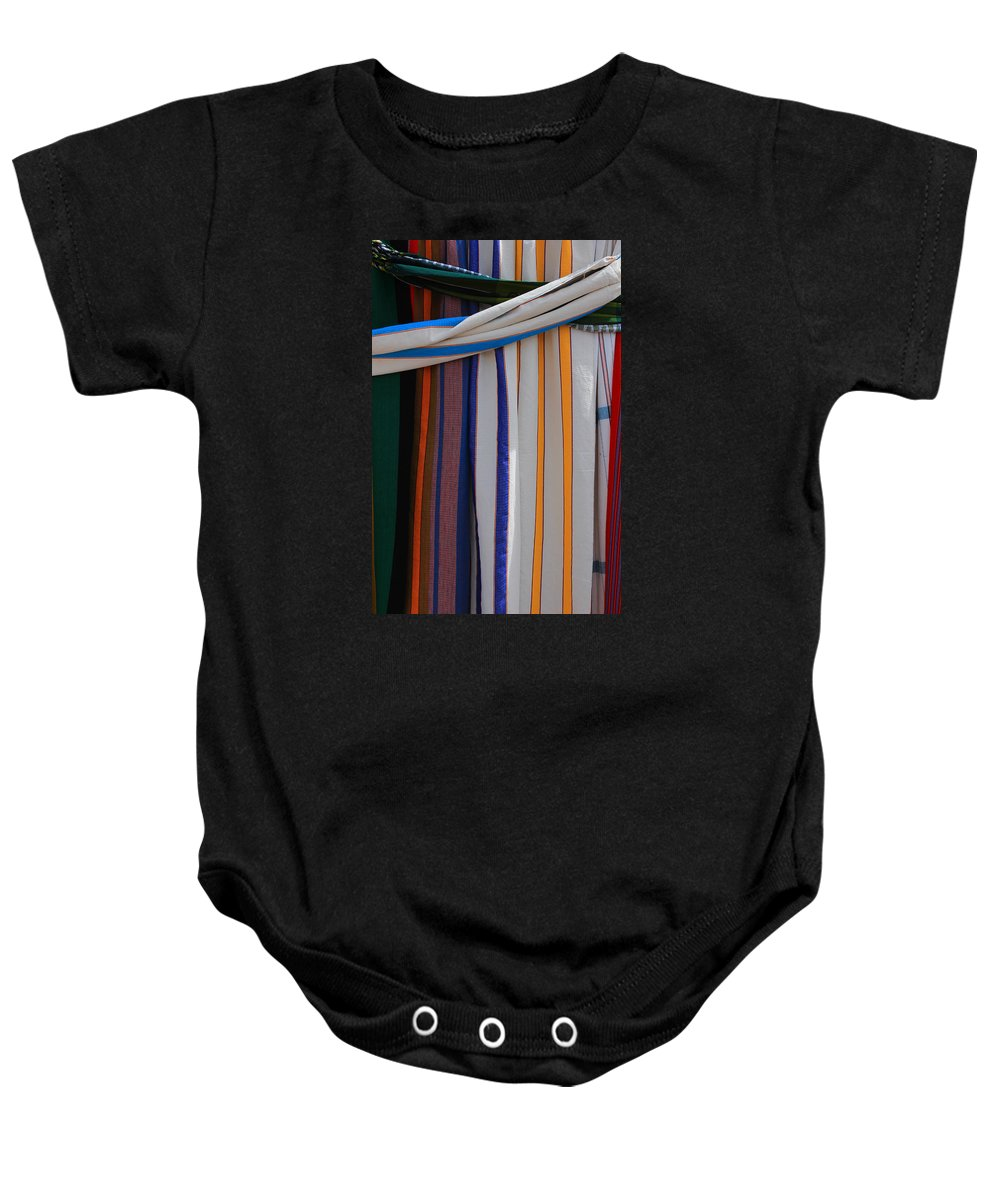 Hammock Baby Onesie featuring the photograph Hammocks In Colored Patterns by Robert Hamm