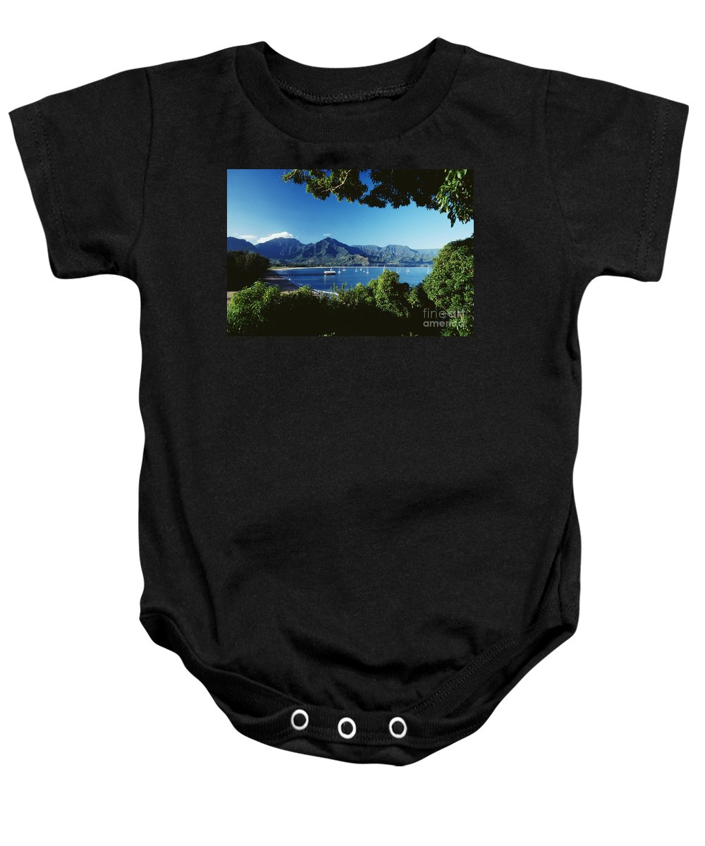 Afternoon Baby Onesie featuring the photograph Hanalei Bay Boats by David Cornwell First Light Pictures Inc - Printscapes