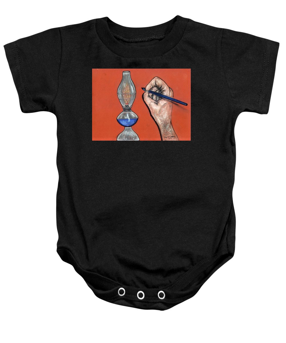 Lamp Baby Onesie featuring the pastel Hand Drawing Lamp by Melvin Moon